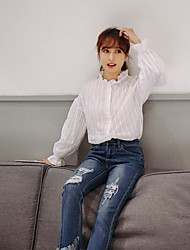 Women's Casual/Daily Vintage Shirt,Solid Stand Long Sleeve Cotton