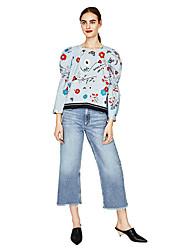 европейский и американский полосатый цветок печати пузырь с длинными рукавами рубашки блузки весна женщин&# 39; Новое внешнеторговое