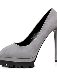 Damen-High Heels-Kleid-Wildleder-Stöckelabsatz-Komfort-Grau