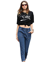 Real shot female jeans AliExpress eBay tassel elastic waist straight jeans
