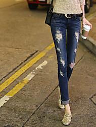 Corea del Sur modelos de explosión de primavera y verano sexy pies nuevos pantalones vaqueros mujeres diamante agujero oportunidad real