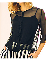 Women's Sexy Blouse,Solid Round Neck ½ Length Sleeve Black Silk Cotton Sheer