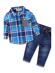 Boys' Going Out Casual Party Plaid Sets Long Sleeve Shirt Baby Kids Clothing Jeans Belt Pants Set