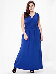 Balançoire Robe Femme Grandes Tailles Sophistiqué,Couleur Pleine Col en V Maxi Sans Manches Coton Polyester Eté Taille Normale