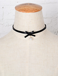 Mujer Gargantillas Obsidiana Perla Artificial Piel Forma de Lazo Colgante Perla Artificial Moda Euramerican Negro JoyasBoda Fiesta