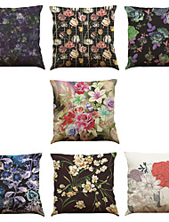 Set of 7 Flower Printing Pattern Linen  Cushion Cover Home Office Sofa Square  Pillow Case Decorative Cushion Covers Pillowcases As a Gift