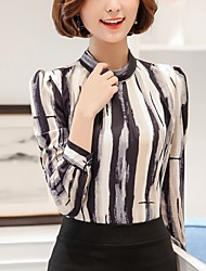 Women's Casual/Daily Formal Work Simple Street chic Blouse,Striped Stand Long Sleeve Polyester
