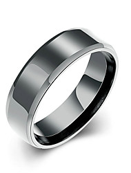Concise Black Color Titanium Steel Eternity Letter Style Band Wedding Ring Jewellery for Women Accessiories