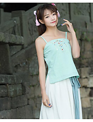 Women's Casual/Daily Chinoiserie Tank Top,Solid Strap Sleeveless Cotton