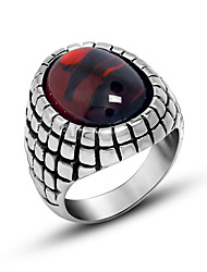 Special Offer Natural Agate Ring Classic Red Black Mans Finger Ring Retro Fashion Unisex Jewelry Ring Titanium steel