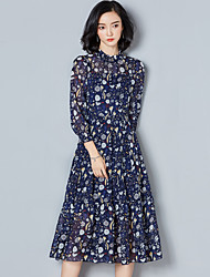 Sign chiffon dress 2017 new Korean fashion Slim thin long-sleeved floral dress temperament