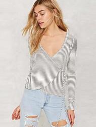 Damen Solide Einfach Ausgehen T-shirt,V-Ausschnitt Langarm Seide