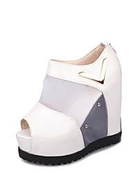 Women's Sandals Comfort PU Summer Outdoor Walking Comfort Metallic toe Wedge Heel White Black 1in-1 3/4in