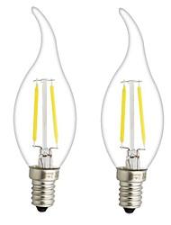 3W E14 E12 LED лампы накаливания CA35 2 COB 300 lm Тёплый белый Регулируемая AC 220-240 AC 110-130 V 2 шт.
