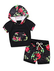 Kids Baby Unisex Going Out Casual/Daily Sports Floral Print SetsCotton Modal Summer Short Sleeve Clothing Set Girls Boy Clothes