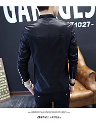 Masculino Jaquetas de Couro Casual Férias Boho Outono Inverno,Estampado Padrão Poliéster Pele Colarinho Chinês Manga Longa