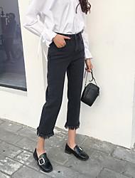 2017 new black high waist Slim jeans female pantyhose fringed wide leg pants leisure wild