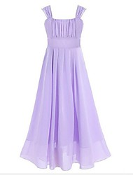 Ball Gown Ankle Length Flower Girl Dress - Chiffon Sleeveless Square Neck with Ribbon by YDN