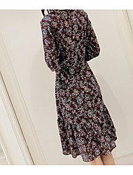 Sign for ladies collar printed floral dress long-sleeved shirt flounced chiffon dress and long sections