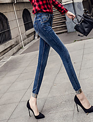 Spring and summer wear white curling frayed jeans stretch pants feet burr nine points Slim thin female
