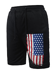 Hombre Sencillo Chic de Calle Tiro Medio Micro-elástica Chinos Pantalones,Corte Ancho Estampado
