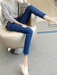 Korean high waist knee burr hole nine feet pencil pants