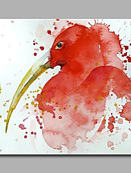 Hand-Painted Animal Long mouth Red Bird  Ready To Hang Modern One Panel Canvas Oil Painting For Home Decoration