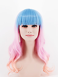 fashion gradient blue pink mixed color long section Straight Bang Body wave high temperature wire wig