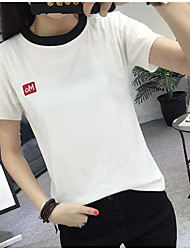 Real shot in summer 2017 new Korean hit color stitching simple solid color short-sleeved T-shirt women girlfriends dress shirt