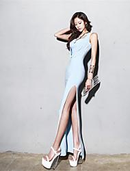 7bn 2015 Verão novo pacote de hip vestido de fenda vestido longo