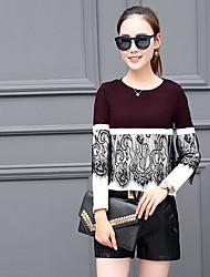Damen Solide Einfach Lässig/Alltäglich T-shirt,Rundhalsausschnitt Langarm Polyester Dünn