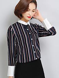 знак 2017 новой мода полосатой рубашки поло с длинными рукавами рубашки ола шифон рубашка корейская версия