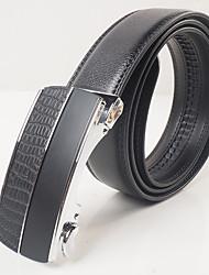 Men's casual fashion black leather belt buckle automatically restores ancient ways matte crocodile grain gold/silver agio