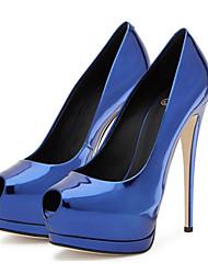 Золотой Черный Серебряный Синий-Для женщин-Свадьба Для праздника Для вечеринки / ужина-Полиуретан-На шпильке-Оригинальная обувь Удобная