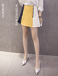Sign 2017 spring and summer new Korean fashion small fresh hit color double zipper a word skirts women