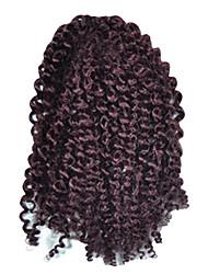 1 Pack 8inch Dark Wine Curly Afro Kinky Mali Bob Braids Hair Extensions Kanekalon Hair Braids 30g (5-6packs/head)