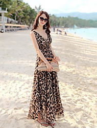 Tunique Robe Femme Décontracté / QuotidienLéopard Col en V Maxi Sans Manches Coton Eté Taille Normale Micro-élastique Moyen