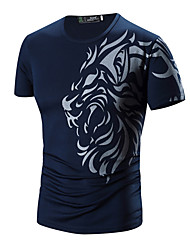 Men's Casual Fashion Tattoo Printing Round Neck Short Sleeve T-Shirt