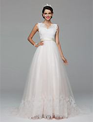 A-line Wedding Dress Lacy Look Court Train V-neck Lace Tulle with Appliques