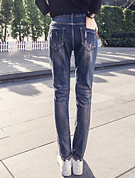 The new spring hole jeans female trousers feet lettered patch stretch pants harem pants collapse tide