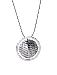 Vintage Round with Hammered Effect Pendant Necklace