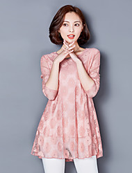 Sign 2017 Korean version of large size women long-sleeved lace dress long section of loose fat MM was thin fight