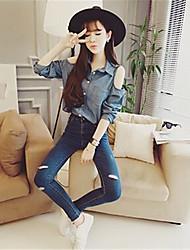 2017 mulheres camisa outono nova&# 39; s coreano strapless selvagem bolso de manga comprida camisa de cor sólida vestuário de ganga