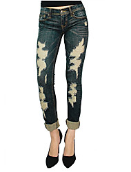 Women's Low Rise Micro-elastic Jeans Pants,Sexy Skinny Ripped Solid