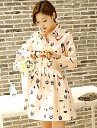Sign Korean spring new printing long-sleeved dress lapel waist Slim female long section bottoming