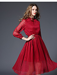 -2017 New European and American long-sleeved chiffon dress elegant long section striped print dress real shot