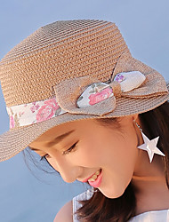 Women 's Beach British Bow Cloth Flat Top Sunscreen Straw Hat