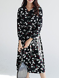 NEW ITEMS Korean wild long section V-neck dress flower