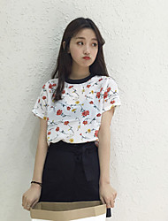 Really making wild new theatrical hit color floral small loose pullover short sleeve T-shirt sweet blouses tide
