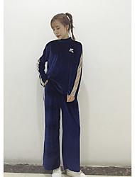 знак корея случайный костюм бархат с высоким воротником с длинными рукавами спортивный небольшой шириной брюки ноги костюм